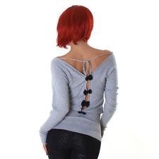 Sexy  Pullover Pulli Feinstrick Pulli mit Schleifen am Rücken Grau 34 36 38