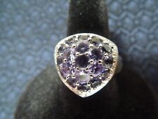 Beautiful Sterling Silver Two-Tone Trillion Style Iolite Cluster Ring, Size 9