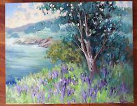 """EVA SZORC Landscape Painting Original Oil On Canvas 20"""" x 16"""" Lavender Coast"""