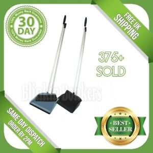 UPRIGHT LONG HANDLE DUSTPAN DUST PAN AND & WITH BRUSH SET SWEEPER BROOM CLEANER