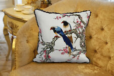 "Decorative Velvet Pillow Cushion Cover Flower Bird Double Sides Printed 18"" Trim"