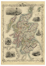 Scotland Edinburgh Orkney Shetland Hebrides illustrated map Tallis ca.1851