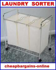 Laundry Caddy Dirty Clothes Sorting Cart Trolley 3 Bags Bathroom Storage