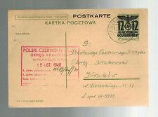 1940 GG Poland Censored Postal Stationery Postcard Cover to Krakow