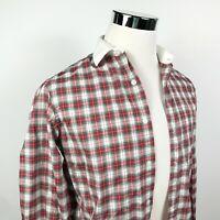 J Crew Mens Small Ludlow 120s 2 Ply Cotton Shirt Tartan Plaid White Collar