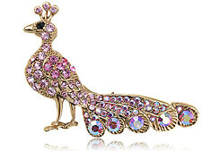 Women Pink Crystal Elements Rose Pink Radiant Peacock Bird Fashion Pin Brooch