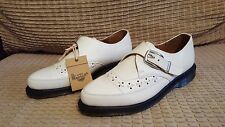 NEW rare Dr. MARTENS size 7 white ROUSDEN oxford CREEPER loafer BUCKLE shoes