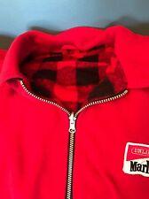 Marlboro Red Solid Black Check Reversible Plaid 1/2 Zip Fleece Jacket Shirt 2XL?