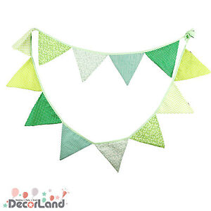 3.3M Vintage Green Cotton Fabric Flag Bunting Baby Shower Nursing Party Decor