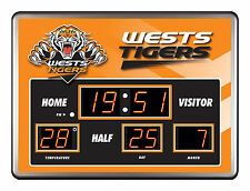 WESTS TIGERS NRL SCOREBOARD LED Glass Clock Date Temp Time Man Cave Bar Gift
