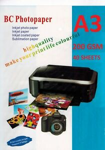 Photo Paper Premium Glossy A3 (297mm x 420mm) 200gsm White 40 Sheets