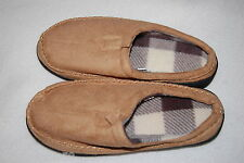 Mens Slippers BEIGE TAN LOW BACK SCUFFS Cushioned RUBBER SOLES  M 10-11