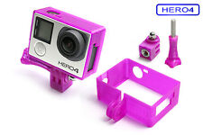Frame + Tripod Mount f. GoPro HERO 4 Black Rahmen Zubehör Stativ Adapter Purple