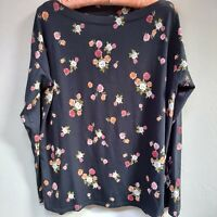 J.Jill Women's Luxe Supima Boat-Neck Tee Floral Long Sleeve Top Black Size Small