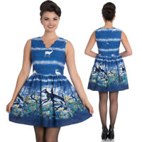 Blue Mini Dress size 12 14 16 10 8 - Retro Deer Stag print Wedding Christening