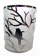 FROSTED GLASS T-LIGHT HOLDER WITH SILVER TREE AND BIRDS
