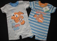 Baby Boys Romper 2 Set Disney Nemo Bodysuit One Piece Outfit Licensed Grey NEW 0