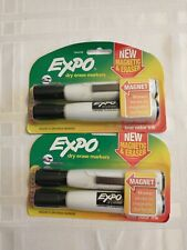 Expo Magnetic Dry Erase Chisel Marker With Eraser Lot 2 Packs 4 Total Markers