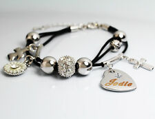 Genuine Braided Leather Charm Bracelet With Name - JODIE - Gifts for her