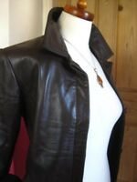Ladies M&S brown real leather JACKET COAT UK 10 8 classic hip length shorter