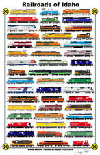 "Railroads of Idaho 11""x17"" Railroad Poster by Andy Fletcher signed"