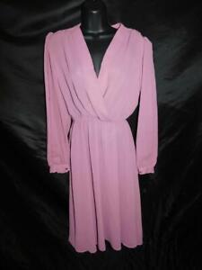 Vintage 70s M Mauve Purple Shift Dress Deep V Neck Day to Evening Midi md
