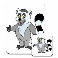 Cute Lemur Waving Hello Big Bushy Tail Mouse Mat / Pad & Coaster