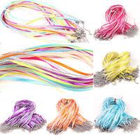 5/20PCS Mix Color Lobster Clasp Organza Ribbon Waxen Cord String Necklaces