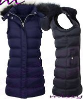Womens LONG GILET BODY WARMER LADIES QUILTED COAT PUFFER FUR HOODED JACKET PARKA