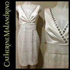$598 CATHERINE MALANDRINO White Silk Grommet V Neck Cocktail Dress ~ 6 M3020