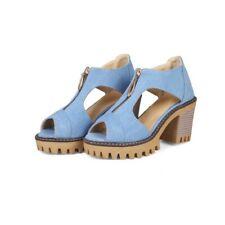 2019 British Style Ladies Peep toe Chunky heel Casual Denim Spring Summer shoes