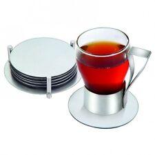 BRAND NEW - 6  Round Stainless Steel Coaster Holder Stylish Drinks Mat Modern