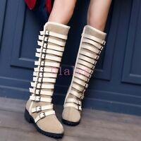 Combat Punk Suede Womens Multi-Buckle Casual Knee High Winter Zip Boot New Shoes
