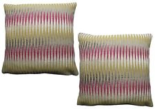 Pack of 2 Geometric Stripe Design Cushion Cover/ Red/ Green/ White/ Grey