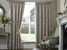 "PALERMO FLORAL 66"" x 90"" TAUPE LINEN PENCIL PLEAT LINED READY MADE HEAVY CURTAIN"