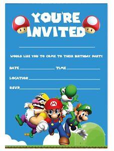 SUPER MARIO INVITATIONS BIRTHDAY PARTY INVITES CHILDREN KIDS BOYS GIRLS