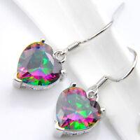 Wedding Jewelry Love Heart Rainbow Mystic Topaz Gemstone Silver Dangle Earrings