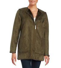 MICHAEL Michael Kors Reversible Faux-Fur Walker Coat Jacket Olive M Nwt $300