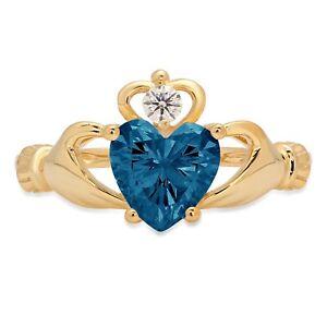 1.55 Heart Irish Celtic Claddagh London Blue Topaz Promise Ring 14k Yellow Gold