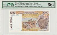 Ivory Coast West African States PMG Certified Banknote UNC 66 EPQ Gem 1998 1000