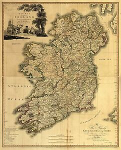 """Ireland Map old Vintage art painting Travel Poster Print for  Glass Frame 36"""""""