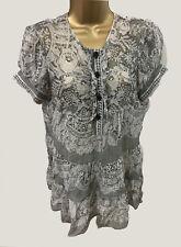 Diane Von Furstenberg S 8 100% Silk Floral Sheer Top Grey Print Shirt Holiday