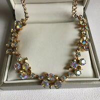 Vintage 1950s Necklace Sparkly Rhinestone Flower Leaf Aurora Borealis Iridescent