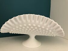 Vintage Fenton HOBNAIL Milk Glass Banana Bowl Boat Stand Pie Crust Crimped Rim