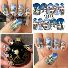 Nail Art Water Decals Christmas Tree Snowman Manicure Transfer Stickers Decors