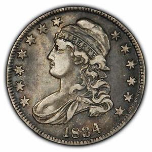 1834 50c Capped Bust Half Dollar - VF/XF Coin - SKU-H1053