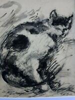 MOULIS Alexandre 1889 - 1973 & Le Chat & Aquarelle & Crayon & Dessin & Peinture