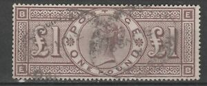 Great Britain QV 1884 SG 185 £1 brown-lilac wmk Imperial crowns used & signed