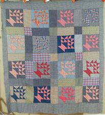 Vintage 20's Baskets Antique Patchwork Quilt Top ~NICE GINGHAM PLAID FABRICS!