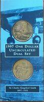 Australia 1997 SIR CHARLES KINGSFORD SMITH DUAL SET OF 2 $1 UNC COINS